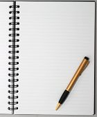 Empty blank ring, spiral notepad, one gold pen