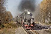 Retro steam train goes fast.