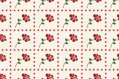 traditional seamless pattern with red rose