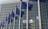 European Flags In Front  The Berlaymont Building, Headquarters  Commission On Brussels.