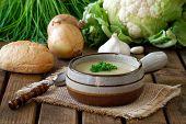 Fresh Cauliflower Soup With Onions And Garlic