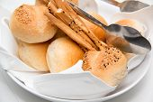 stock photo of bread rolls  - Assorted bread rolls in a bread basket. ** Note: Shallow depth of field - JPG