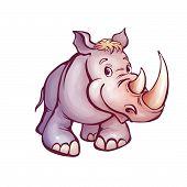 Vector illustration of rhino in cartoon style