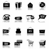 Vector set of flat and colorful shopping icons.