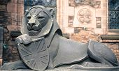 Stone lion in Edinburgh castle, closeup