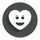 Smile heart face icon. Smiley symbol.