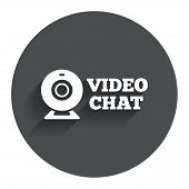 stock photo of video chat  - Video chat sign icon - JPG