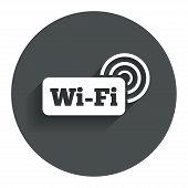 Free wifi sign. Wifi symbol. Wireless Network.