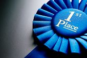picture of rosettes  - Blue first place winner rosette or badge from pleated ribbon with central text to be awarded to the winner of a competition on a graduated grey background with copyspace - JPG