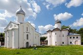 Novgorod, Russia - July 23, 2014: Old Russian Orthodox Churches At The Yaroslav's Court In Veliky No