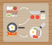 Fried eggs making process, preparing food icons set. Flat design vector.
