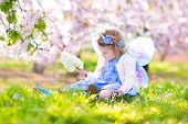 Постер, плакат: Curly Toddler Girl In Fairy Costume Playing In Fruit Garden