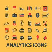 analytics, business infographics, icons, signs, illustrations, silhouettes set, vector