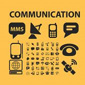 communication icons, signs, illustrations, silhouettes set, vector