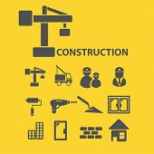 construction icons, signs, illustrations, silhouettes set, vector