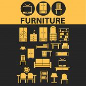 furniture, interior icons, signs, illustrations, silhouettes set, vector