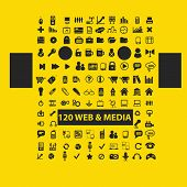 120 website, media icons, signs, illustrations, silhouettes set, vector