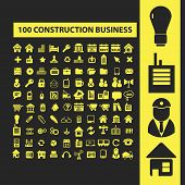 100 construction business icons, signs, illustrations, silhouettes set, vector
