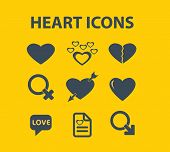 heart, love icons, signs, illustrations, silhouettes set, vector