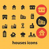 houses, buildings icons, signs, illustrations, silhouettes set, vector