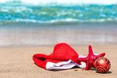 Christmas Attributes And Starfish On The Beach