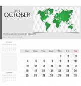 Simple 2015 calendar, October. Vector illustration.