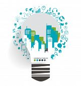 Light bulb with city background and cloud of application. Vector illustration.