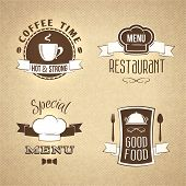 Restaurant menu emblems set textured