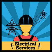 Electricity icon poster