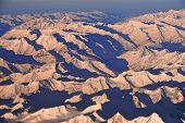 Wintry Himalayas from the air