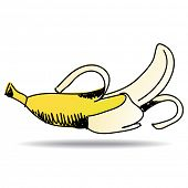 Freehand drawing banana icon - vector eps 10 illustration