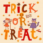Bright trick or treat card in vector. Stylish halloween background in cartoon style. Cute boys and g