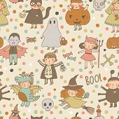 Cute cartoon Halloween seamless pattern made of children in holiday costumes: princess, ghost, pumpkin, spider, dragon, devil, witch, vampire, cat