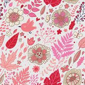 Birds in flowers. Romantic seamless pattern in vector