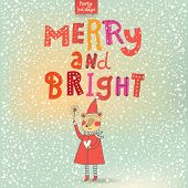Merry and Bright card in cartoon style. Beautiful holiday background with Santa bear under snowfall