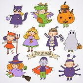 Cute cartoon children in Halloween costumes: Princess, ghost, pumpkin, spider, dragon, devil, witch,