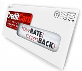 Envelope with a credit card offer and words Low Rate, Cash Back to entice you to sign up for a new f
