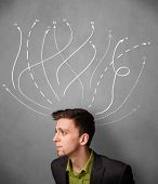 Young businessman thinking with arrows in different directions above his head