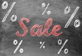 Sale Chalk Writing With Percentage Signs On Chalkboard