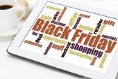 Black Friday word cloud - holiday shopping concept on a digital tablet