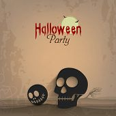 Halloween night party celebration poster, banner or flyer design with scary human skull on grungy br