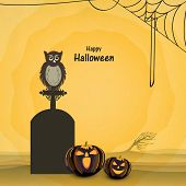 Trick or Treat night party concept with little owl sitting on grave stone, scary pumpkins and spider