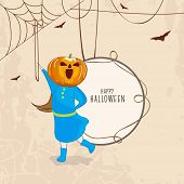 Trick or Treat party concept with little girl in pumpkin mask on spider web background and space for