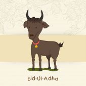 Muslim community festival of sacrifice Eid-Ul-Adha greeting card design with goat on flowers decorated beige background.