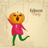 Trick or Treat party concept with little girl in pumpkin mask on grungy background for Halloween Par