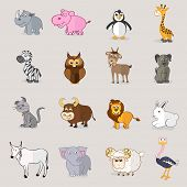 Set of domestic and wild animals with birds on grey background.