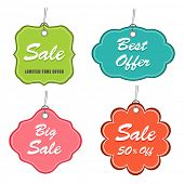 Best and Big sale label, tag or sticker set with discount offer in different colors.