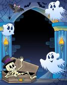Wall alcove with Halloween theme 1 - eps10 vector illustration.