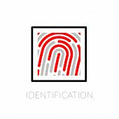 Fingerprint identification system, black symbol with red strip isolated on white background