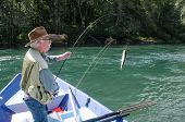 image of mckenzie  - An elderly fisherman reels in a rainbow trout from his driftboat on Oregon - JPG
